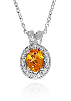 Belk & Co. Citrine & White Topaz Pendant in Sterling Silver