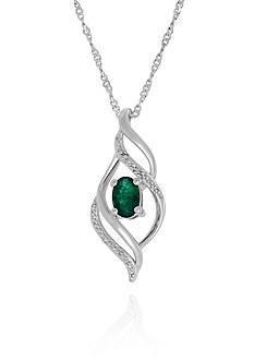 Belk & Co. Emerald & Diamond Pendant in Sterling Silver