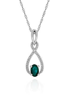 Belk & Co. Emerald and Diamond Pendant in Sterling Silver