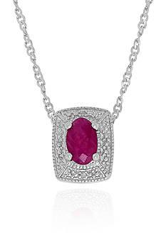 Belk & Co. Ruby & Diamond Pendant in Sterling Silver
