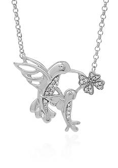 Belk & Co. .103 ct. t.w. Diamond Hummingbird Pendant in Sterling Silver