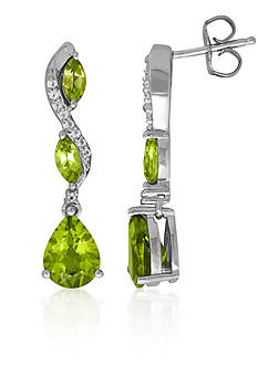 Belk & Co. Peridot and White Topaz Earrings in Sterling Silver
