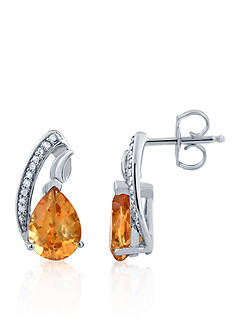 Belk & Co. Citrine & Diamond Earrings in Sterling Silver