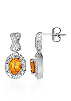 Belk & Co. Citrine & White Topaz Earrings in Sterling Silver