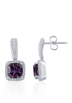 Belk & Co. Purple Amethyst & White Topaz Dangle Earrings in Sterling Silver