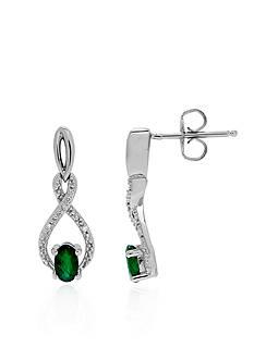 Belk & Co. Oval Emerald Infinity Earrings in Sterling Silver