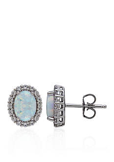 Belk & Co. Created Opal & Created White Sapphire Earrings in Sterling Silver