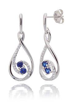 Belk & Co. Sapphire Drop Earrings in Sterling Silver