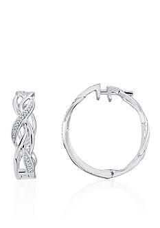 Belk & Co. 0.008 ct. t.w. Diamond Swirl Hoop Earrings in Sterling Silver