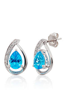 Belk & Co. Topaz and Diamond Stud Earrings in Sterling Silver
