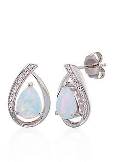 Belk & Co. Opal and Diamond Stud Earrings in Sterling Silver