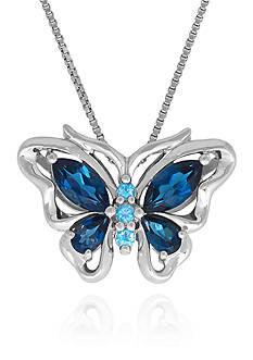 Belk & Co. Blue Topaz Butterfly Pendant in Sterling Silver