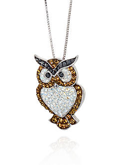 Belk & Co. Crystal Owl Pendant Necklace in Sterling Silver