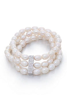 Belk & Co. Freshwater Pearl and Cubic Zirconia Bracelet in Sterling Silver
