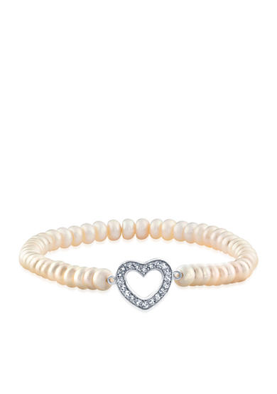 Belk & Co. Freshwater Pearl and White Topaz Heart Stretch Bracelet