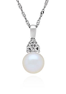 Belk & Co. Freshwater Pearl and White Topaz Pendant Necklace in Sterling Silver