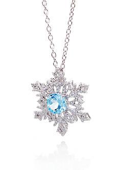 Belk & Co. Blue Topaz and Diamond Snowflake Pendant in Sterling Silver