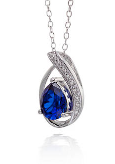 Belk & Co. Two Stone Duo Blue Topaz with Diamond Accent Pendant in Sterling Silver
