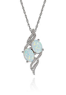 Belk & Co. Opal and Diamond Pendant in Sterling Silver