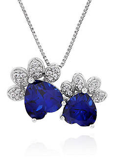 Belk & Co. Two Paw Created Sapphire & Created White Sapphire Pendant in Sterling Silver