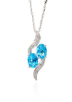 Belk & Co. Blue Topaz & Diamond Pendant in Sterling Silver