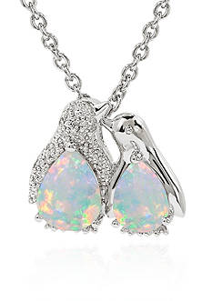 Belk & Co. Created Opal and Diamond Penguin Pendant Necklace in Sterling Silver