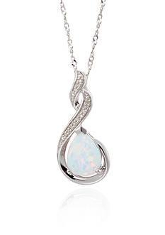 Belk & Co. Created Opal & Diamond Pendant in Sterling Silver