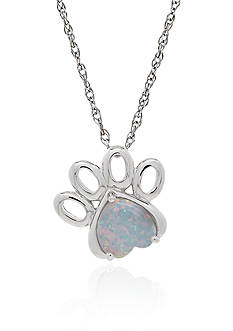 Belk & Co. Created Opal Heart Paw Pendant Necklace in Sterling Silver