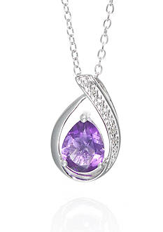Belk & Co. Amethyst and Diamond Pendant Necklace in Sterling Silver