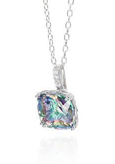 Belk & Co. Mystic Topaz and Diamond Pendant Necklace in Sterling Silver