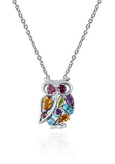 Belk & Co. Multi Semi Precious Owl Pendant in Sterling Silver