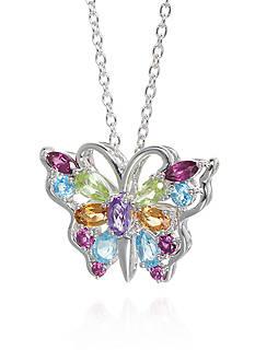 Belk & Co. Multi-Stone Butterfly Pendant in Sterling Silver