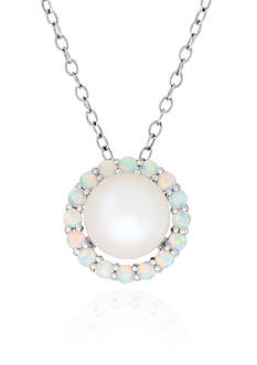 Belk & Co. Freshwater Pearl and Created Opal Pendant in Sterling Silver