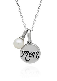 Belk & Co. Freshwater Pearl Mom Monogram Disc Pendant Necklace in Sterling Silver