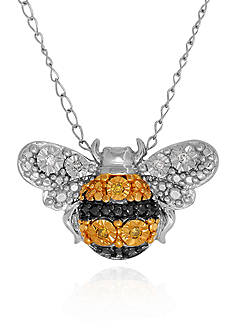 Belk & Co. 0.25 ct. t.w. Diamond with Yellow-Black Plating Bee Pendant in Sterling Silver