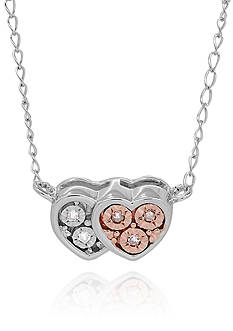 Belk & Co. 1/6 ct. t.w. Diamond Illusion Heart Pendant in Rose Gold Plated Over Sterling Silver