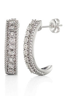 Belk & Co. Diamond J-Hoop Earrings in Sterling Silver