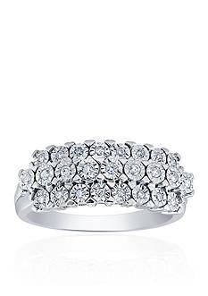 Belk & Co. 0.17 ct. t.w. Diamond 3 Row Ring in Sterling Silver