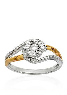 Belk & Co. 1/5 ct. t.w. Diamond Swirl Ring in 14K Yellow Gold over Sterling Silver