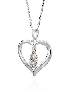 Belk & Co. Diamond Drop In Heart Pendant In Sterling Silver