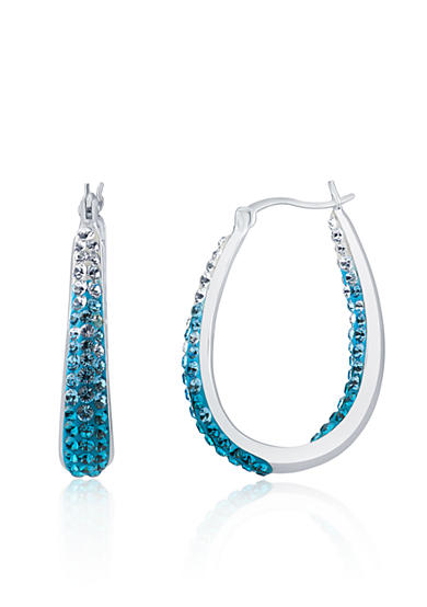 Belk & Co. Blue Crystal Hoop Earrings in Sterling Silver