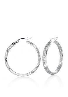 Belk & Co. Criss Cross Hoop Earrings in Sterling Silver