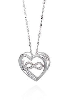 Belk & Co. Diamond Infinity Symbol in Heart Pendant in Sterling Silver