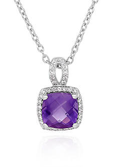Belk & Co. Amethyst & Created White Sapphire Pendant Necklace in Sterling Silver