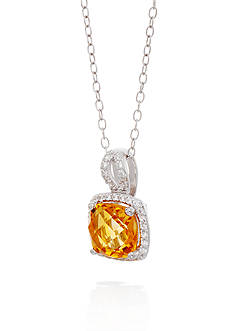 Belk & Co. Citrine and White Sapphire Pendant Necklace in Sterling Silver