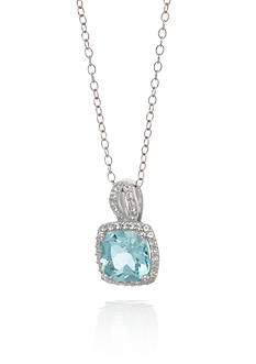 Belk & Co. Aquamarine and Sapphire Pendant Necklace in Sterling Silver