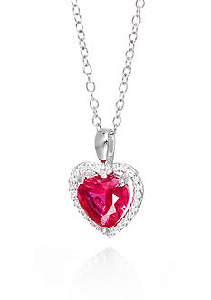 Belk & Co. Created Ruby and White Sapphire Pendant Necklace in Sterling Silver