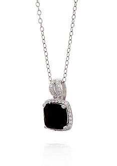 Belk & Co. Onyx and White Sapphire Pendant Necklace in Sterling Silver