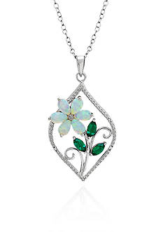 Belk & Co. Created Emerald and Created Opal Flower Pendant Necklace in Sterling Silver