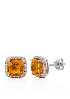 Belk & Co. Citrine & Sapphire Earrings in Sterling Silver